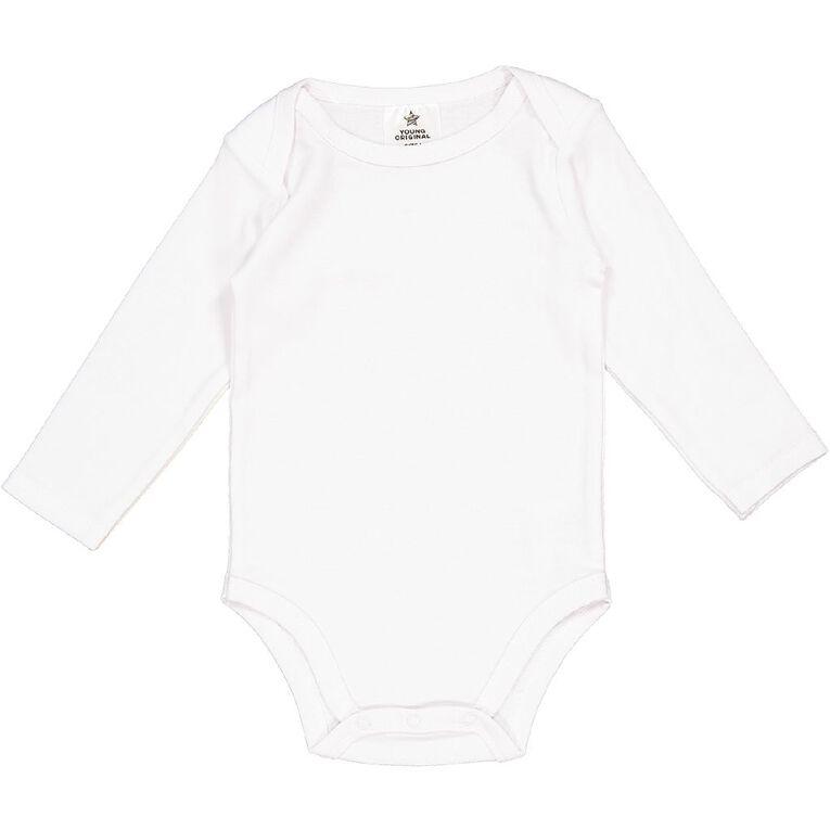Young Original Unisex Long Sleeve Plain Bodysuit 3 Pack, White, hi-res
