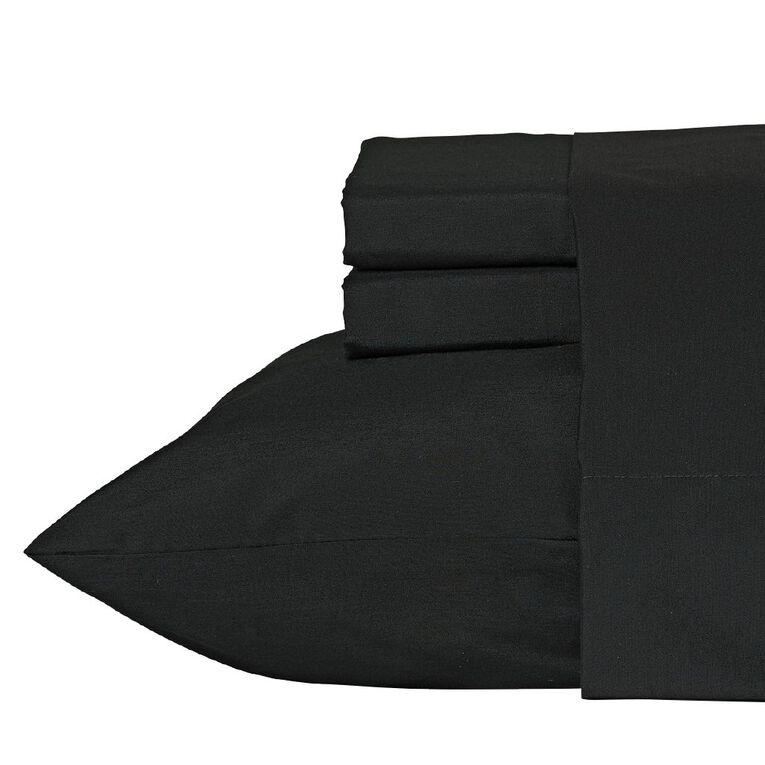 Living & Co Sheet Set Cotton Rich 270 Thread Count Black King Single, Black, hi-res