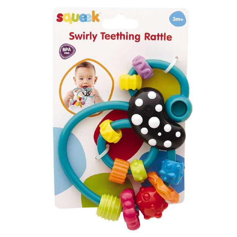 Squeek Swirly Teething Rattle, , hi-res
