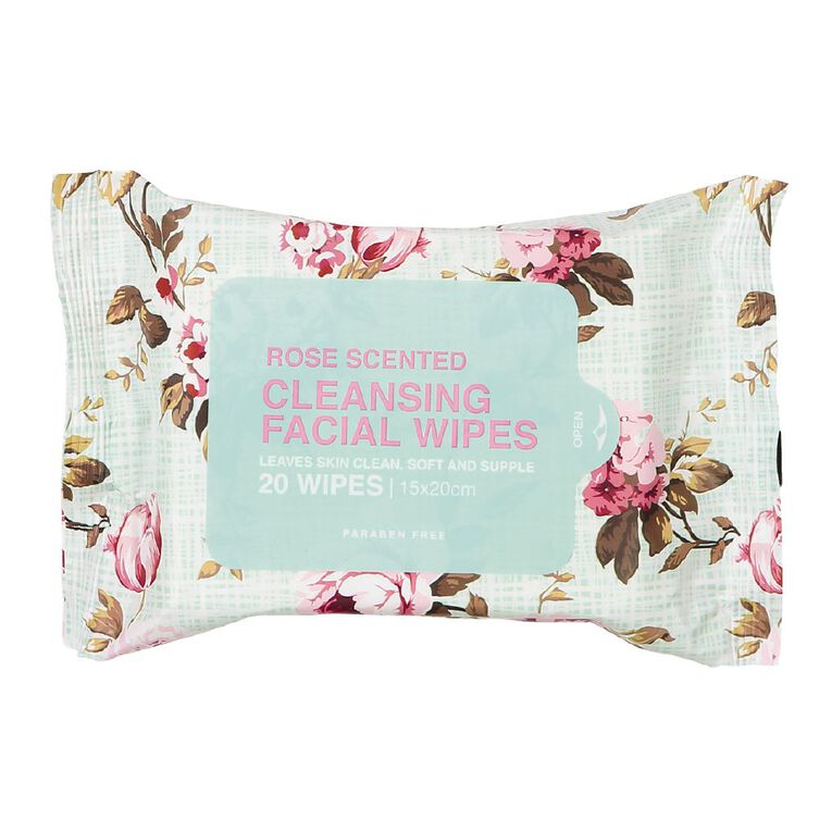 Cleansing Rose Face Wipes Assorted 20 Pack, , hi-res