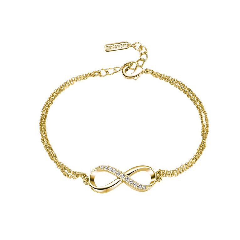 Mestige Gold Plated Infinitely Yours Bracelet with Swarovski Crystals, , hi-res