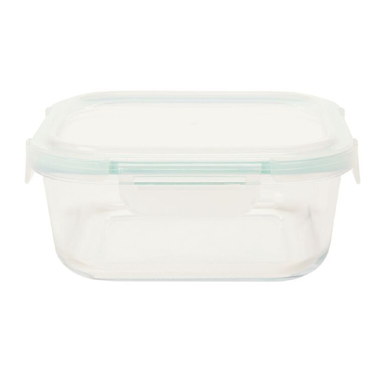 Living & Co Glass Container with Clips Square Clear 1L, , hi-res