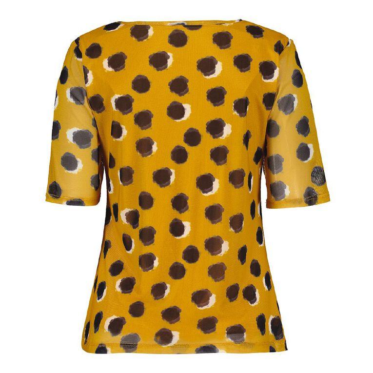 Pickaberry Women's Asymmetric Mesh Tee, Yellow Dark, hi-res image number null