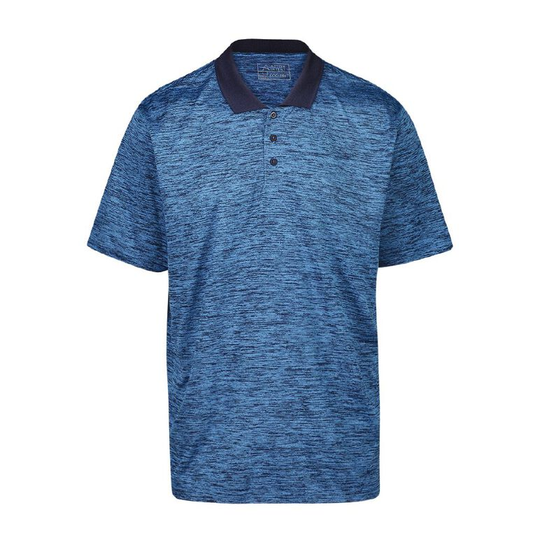 Active Intent Men's Marled Polo, Blue Dark, hi-res image number null