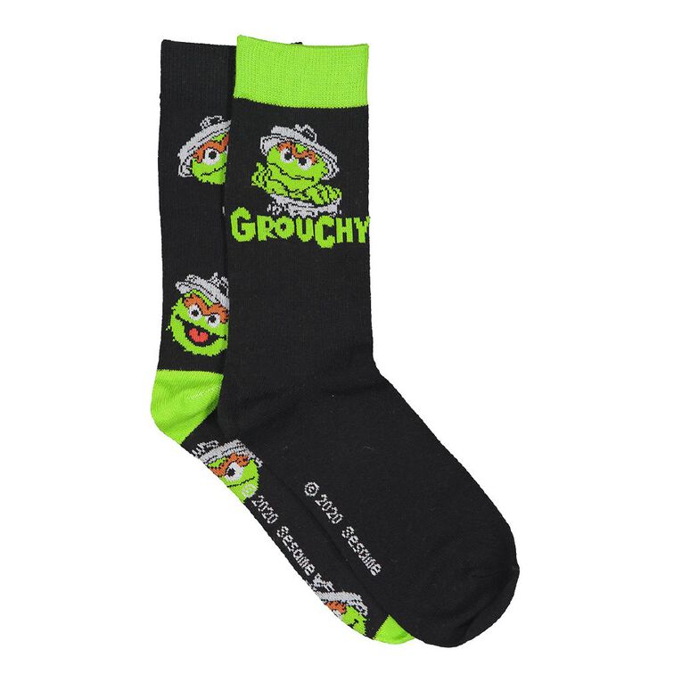 Sesame Men's Crew Socks 2 Pack, Black, hi-res