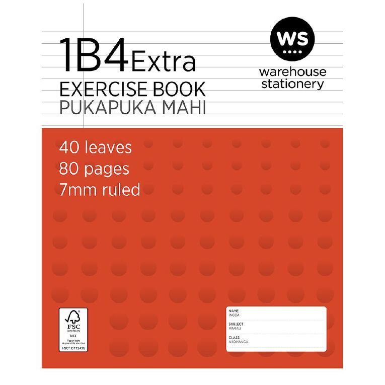 WS Exercise Book 1B4 7mm Ruled 32 Leaf Red, , hi-res