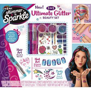 Shimmer n Sparkle 3 n 1 Ultimate Glitter Beauty Set