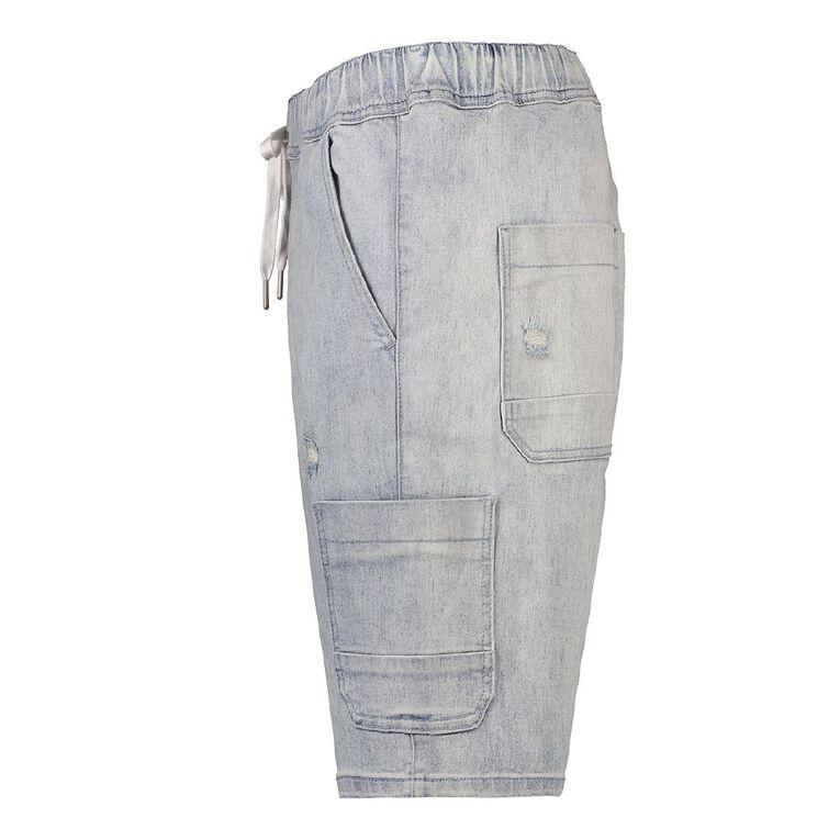 H&H Men's Elasticated Waist Vintage Cargo Shorts, Denim Light, hi-res