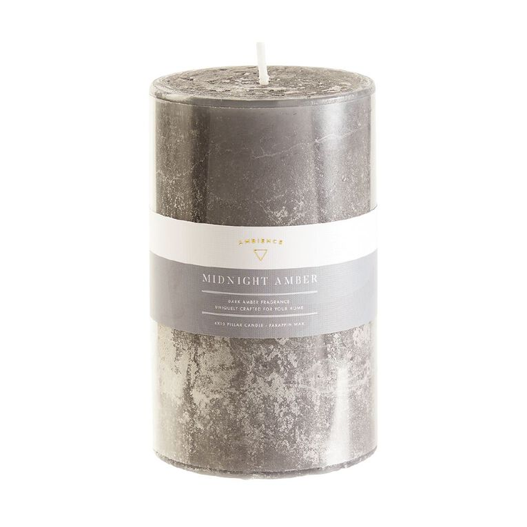 Living & Co Ambience Pillar Candle Amber Wood Charcoal 6cm x 10cm, Charcoal, hi-res