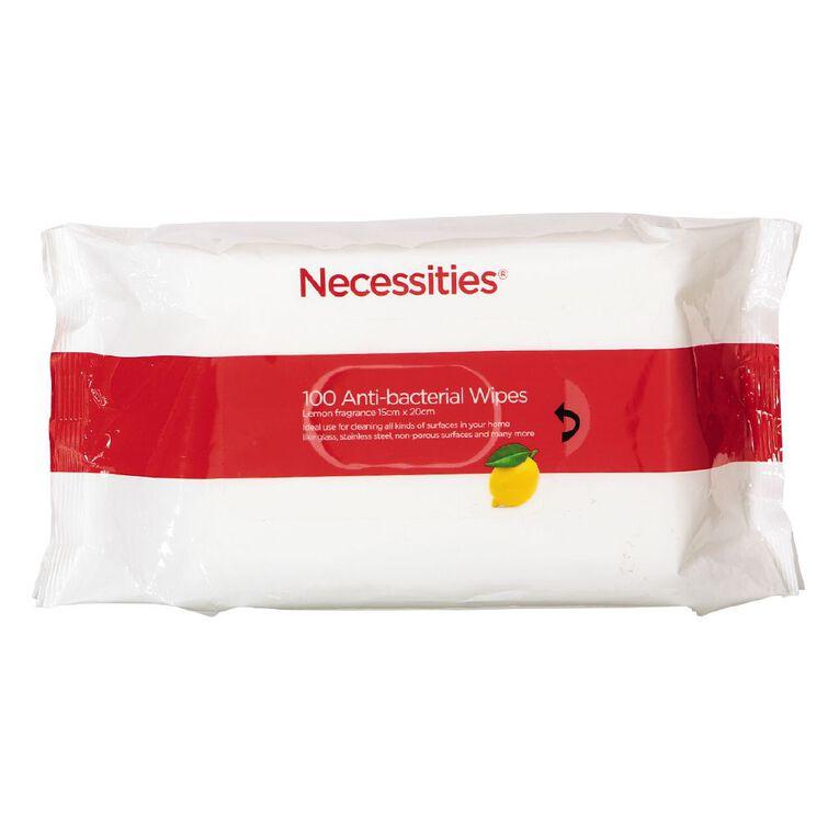 Necessities Brand Anti Bacterial Wipes 100s, , hi-res