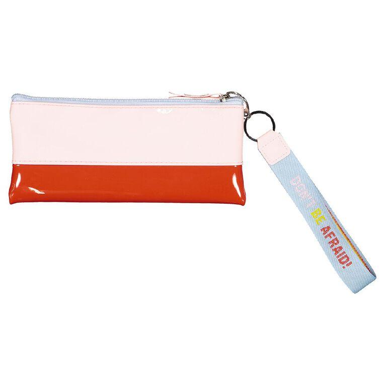 Uniti Fun & FunkyQ2 PU Flat Pencil Case Red & Pink, , hi-res