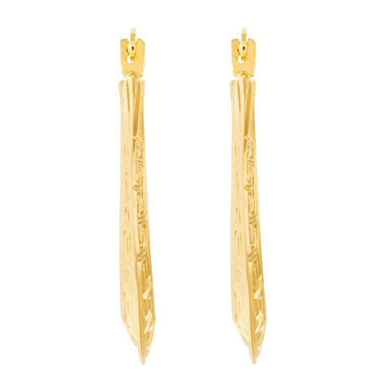 9ct Gold Greek Key Hoop Earrings Large, , hi-res