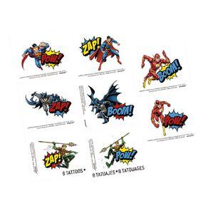 Justice League Heroes Unite Tattoos 8 Pack