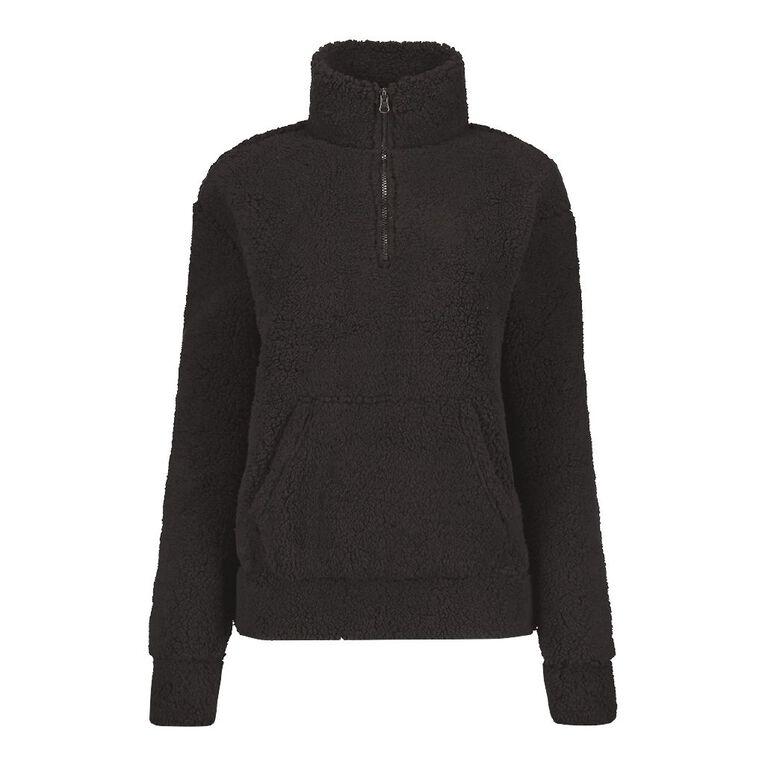 H&H Women's Zip Collar Sherpa Sweatshirt, Black, hi-res