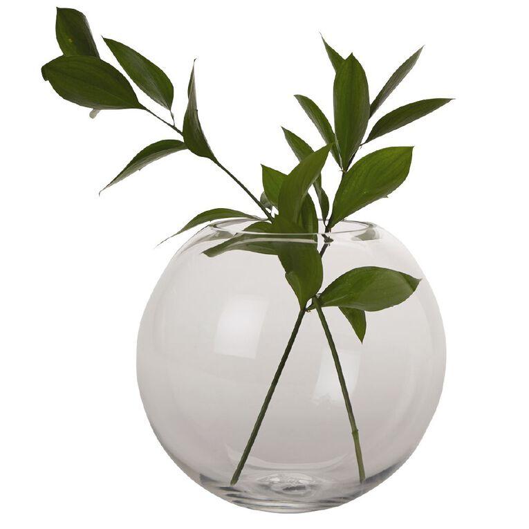 Living & Co Rose Bowl Vase Clear 19cm, , hi-res