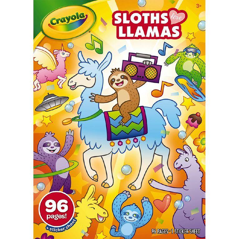 Crayola Coloring Book Sloths Love Llamas 96 Page, , hi-res