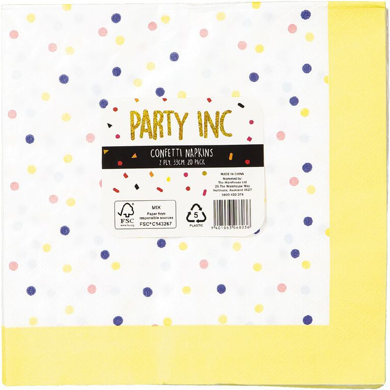 Party Inc Confetti Napkins 2ply 33cm x 33cm 20 Pack, , hi-res
