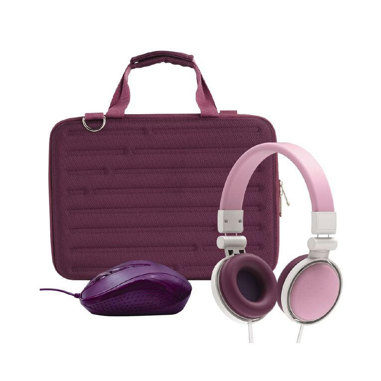 11inch Hard Shell Bundle with Mouse and Headphones Berry, , hi-res