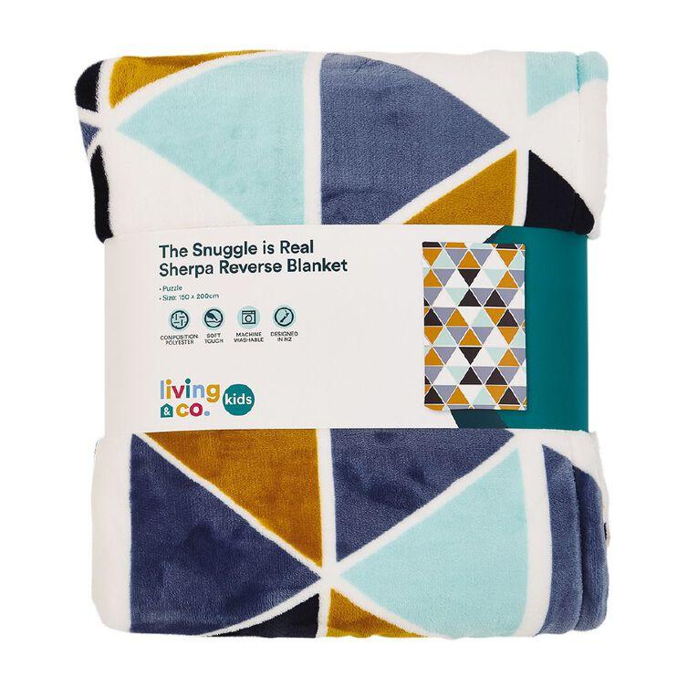 Living & Co Kids Printed Plush w Sherpa Blanket Puzzle Blue Single, , hi-res