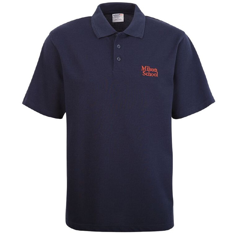 Schooltex Milson Short Sleeve Polo with Embroidery, Navy, hi-res