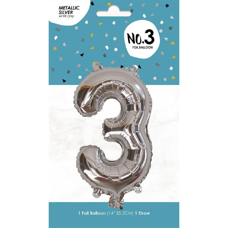 Foil Balloon #3 Silver 35cm, , hi-res