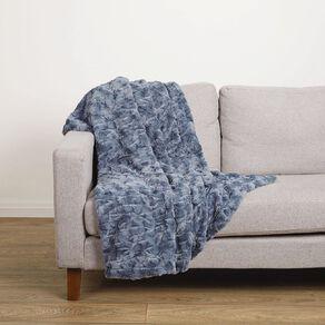 Living & Co Textured Faux Fur Throw Mirage Blue 120cm x 140cm