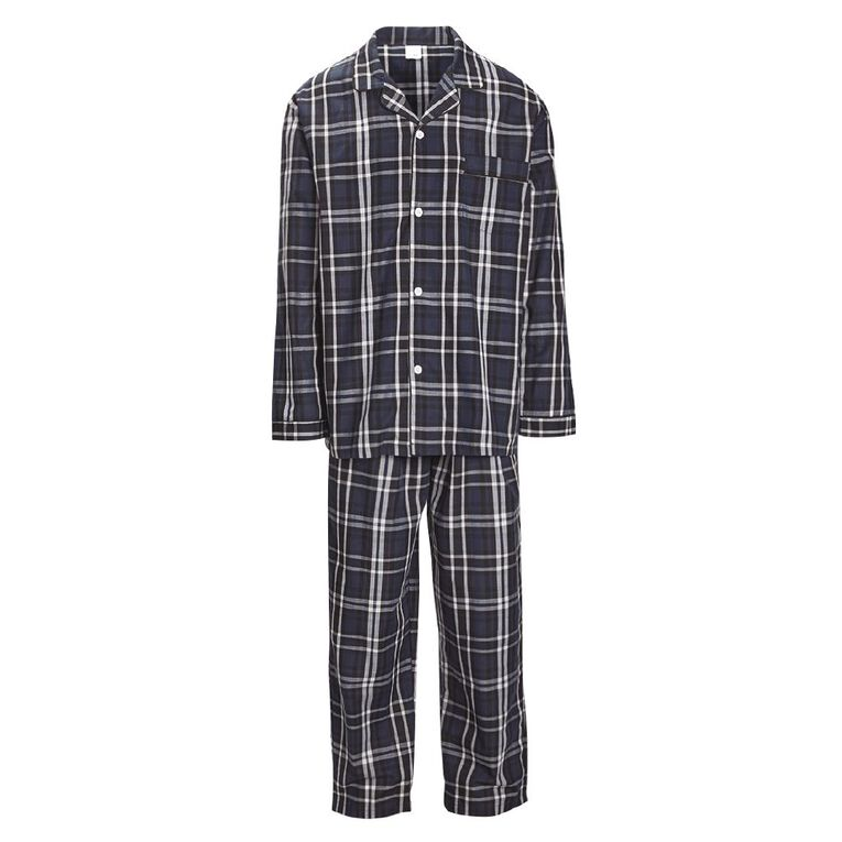 H&H Men's Woven Pyjama Set, Black, hi-res