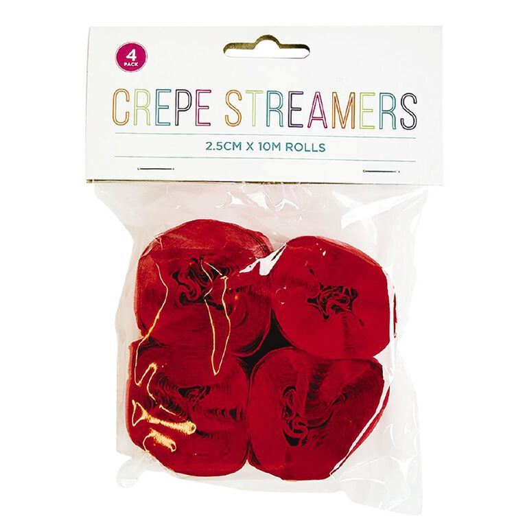 Crepe Streamers 100cm x 2.5cm Red 4 Pack, , hi-res