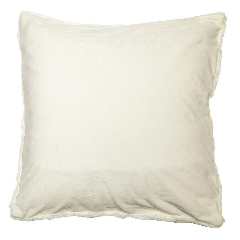 Living & Co Textured Faux Fur Cushion Cream 50cm x 50cm, Cream, hi-res