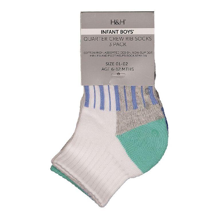 H&H Infant Boys' Quarter Crew Rib Socks 3 Pack, White, hi-res
