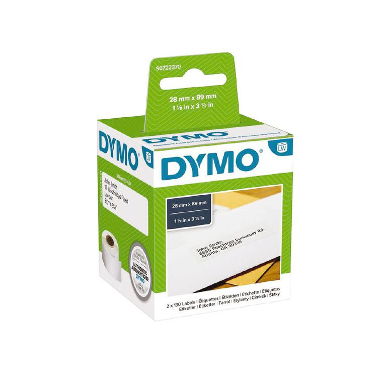Dymo Label Tape Standard Add Paper/White 89mm x 28mm, , hi-res