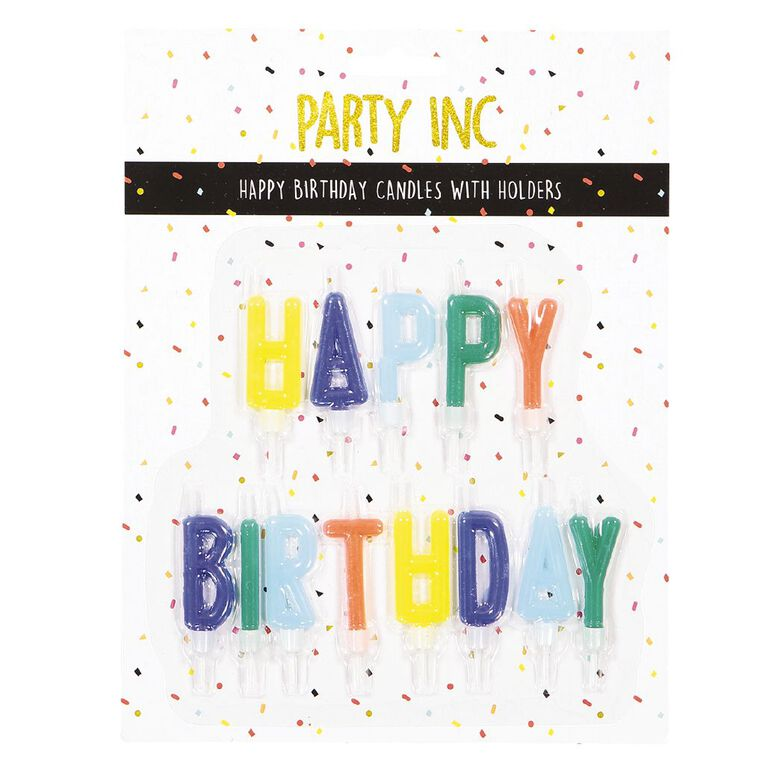 Party Inc Happy Birthday Candles in Holder Multi-Coloured Assorted, , hi-res