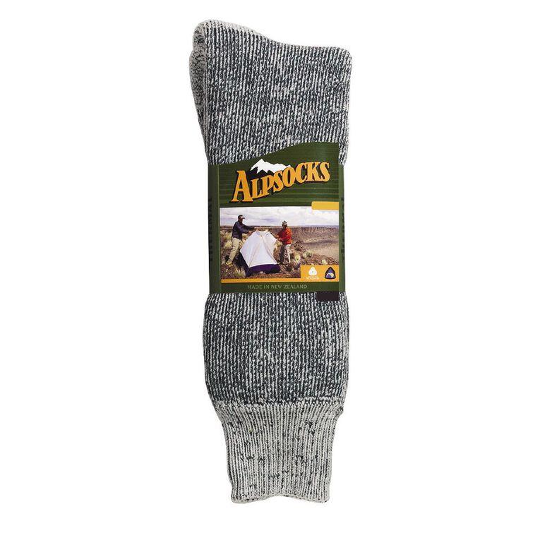 Alpsocks Men's Thermal Wool Blend Socks, Grey, hi-res