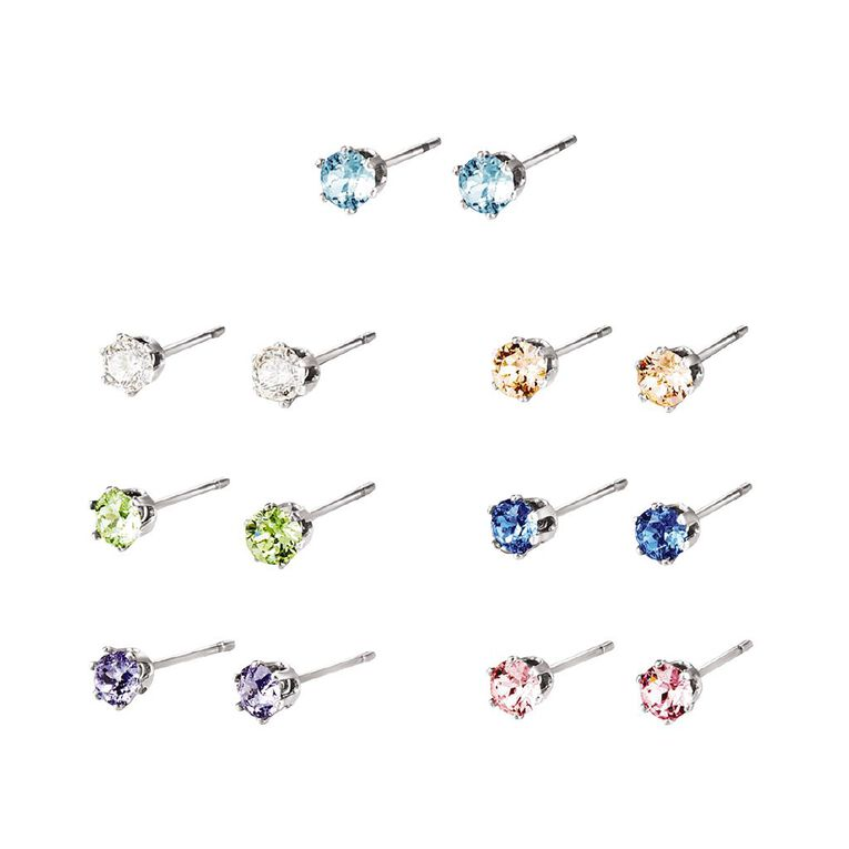 Mestige Silver Plated Multi Coloured Swarovski Crystal 7 Pack Earrings, , hi-res