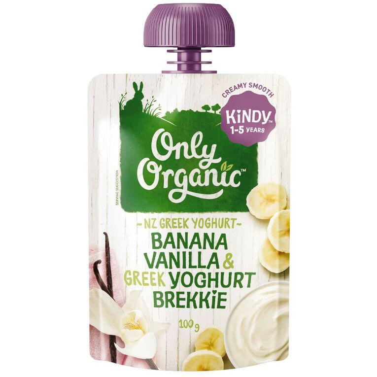Only Organic Kindy Banana & Vanilla Greek Yoghurt Brekkie Pouch, , hi-res