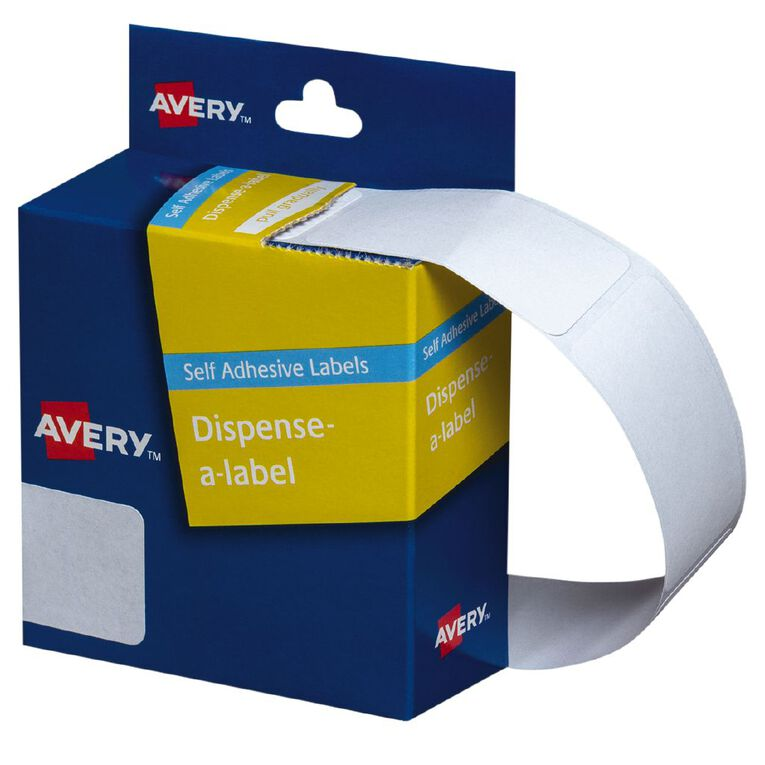 Avery White Rectangle Dispenser Stickers 49x24mm 325 Labels Handwritable, , hi-res