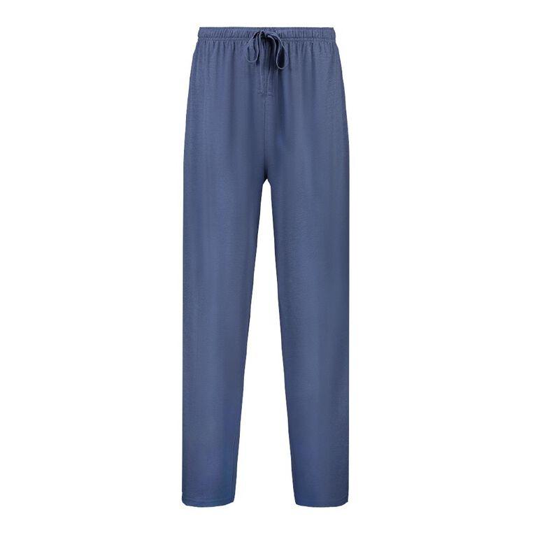 H&H Men's Plain Knit Pyjama Pants, Denim, hi-res
