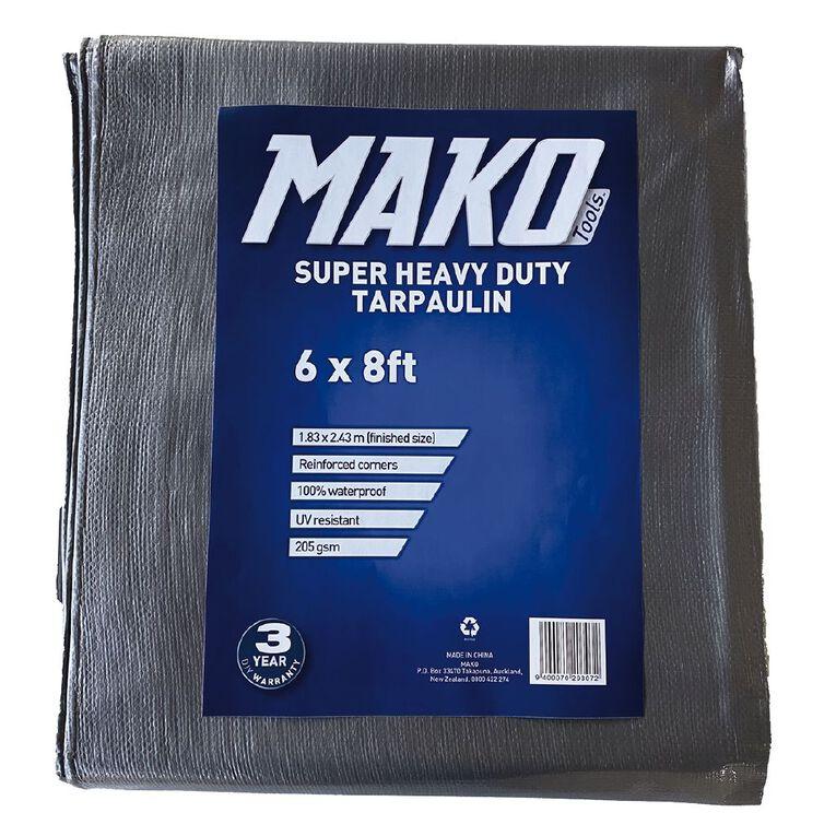 Mako Tarpaulin Silver/Black 205gsm 6ft x 8ft, , hi-res