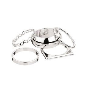 Chunky Round Silver Ring Set