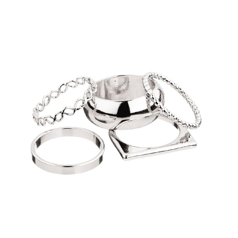 Chunky Round Silver Ring Set, , hi-res