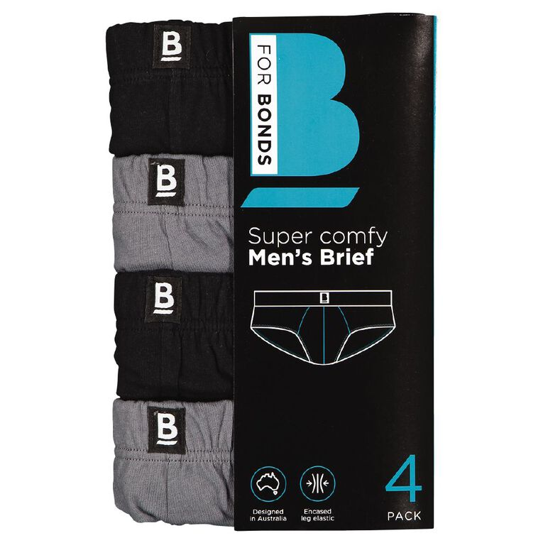 B FOR BONDS Men's Classic Briefs 4 Pack, Black/Grey w21 10k, hi-res