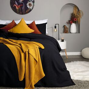 Living & Co Duvet Cover Set Luxury Waffle Black