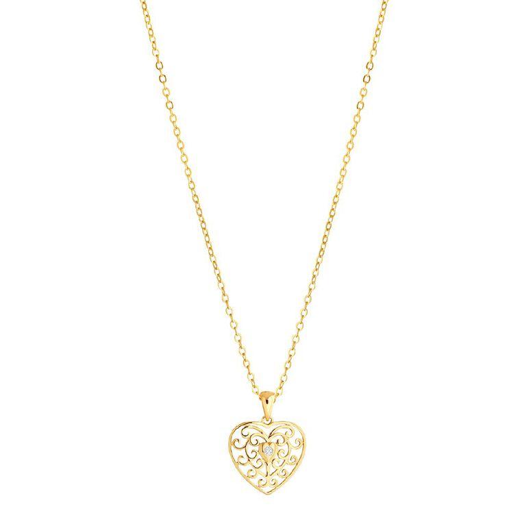 0.02 Carat Diamond 9ct Gold Filigree Heart Pendant, , hi-res