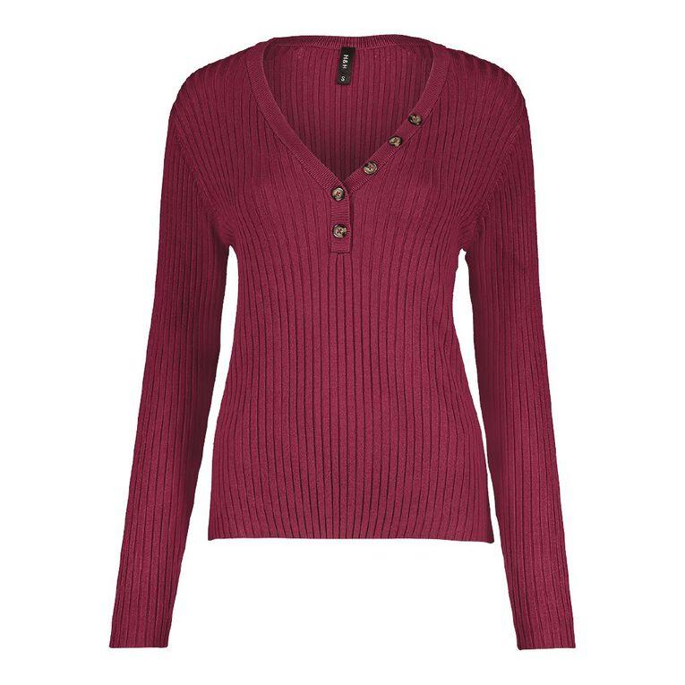 H&H Women's Long Sleeve Rib Tort Button Jumper, Purple Dark, hi-res