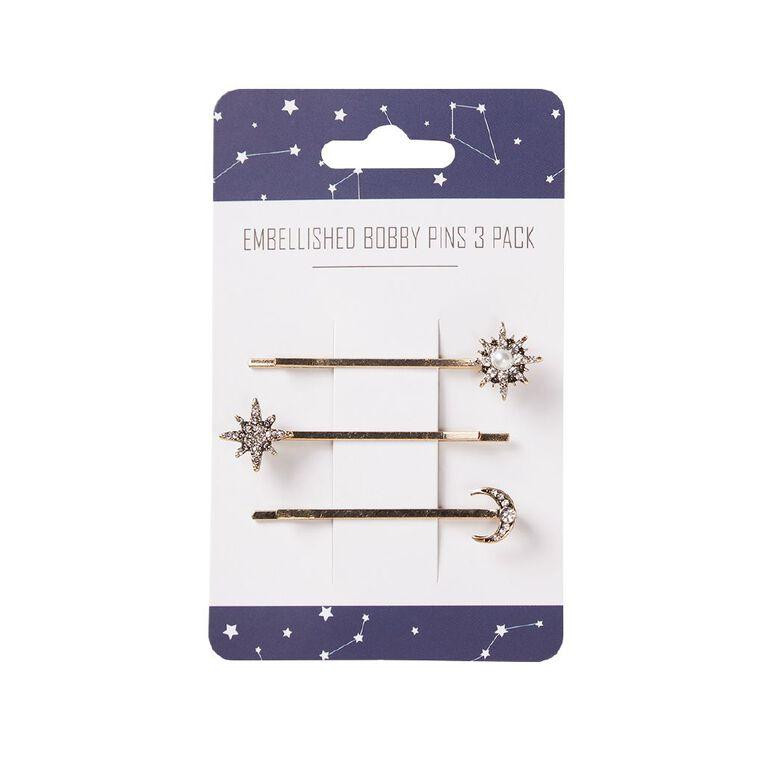 Interstella Embellished Bobby Pins 3 Pack, , hi-res