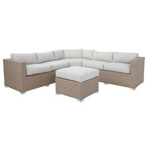 Living & Co Wicker Barcelona Corner Sofa Setting