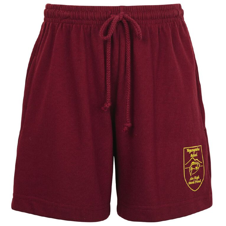 Schooltex Ngongotaha Knit Shorts with Transfer, Burgundy, hi-res