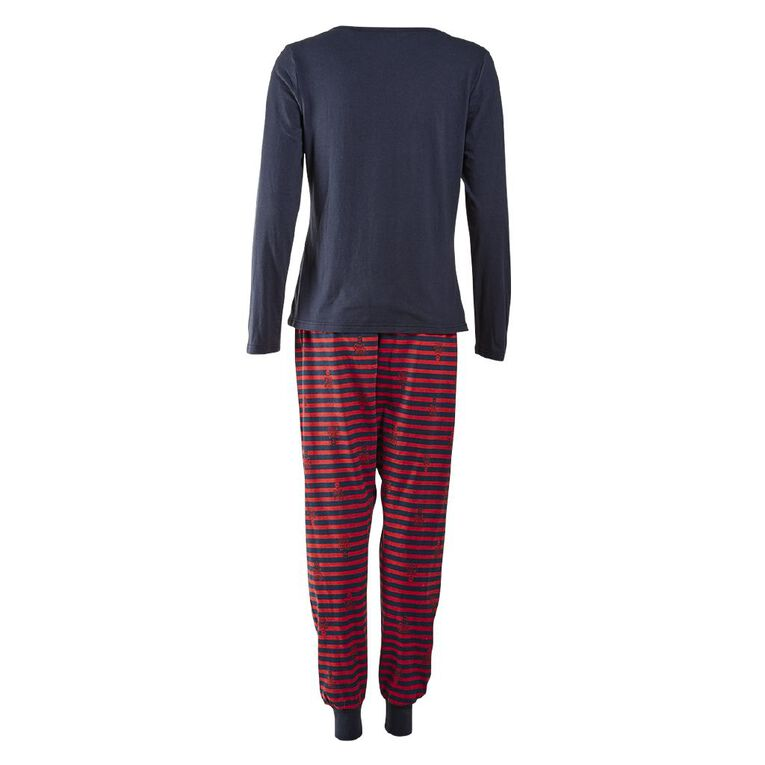 Disney Women's Knit Long Sleeves Pyjama Set, Navy, hi-res