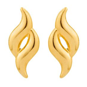 9ct Gold Double Flame Stud Earrings