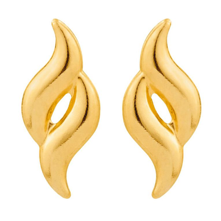 9ct Gold Double Flame Stud Earrings, , hi-res